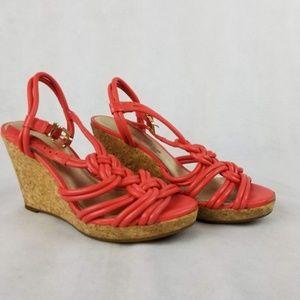 Antonio Melani Coral Leather Wedge Sandals 6M